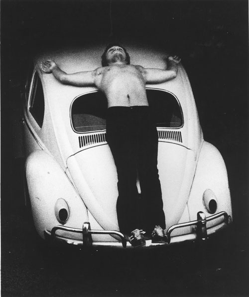 Chris Burden. Trans-fixed, 1974. Performance on Speedway Avenue, Venice, California, April 23, 1974. Photograph: Courtesy the artist and Gagosian Gallery